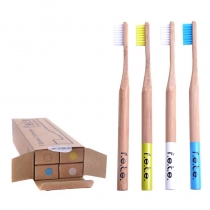 Family Pack of 4 Medium Bamboo Toothbrushes ( natural, yellow, white, blue)