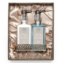 Bath and Body Set with Nickel Plated Tray - Acqua
