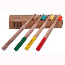 Family Pack of 4 Soft Bamboo Toothbrushes (green,red, natural, yellow)