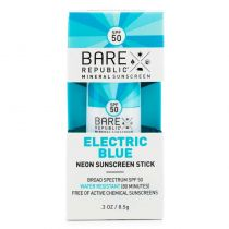 Bare Republic Neon Sunscreen Stick - Electric Blue SPF 50