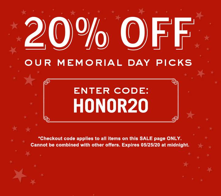 20% Off Memorial Day Picks